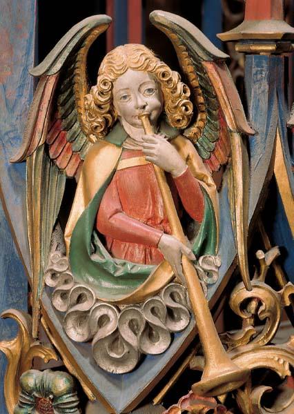 Kunstkarte - Posauneblasender Engel