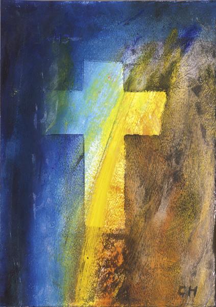 Klappkarte - Aufscheinendes Kreuz
