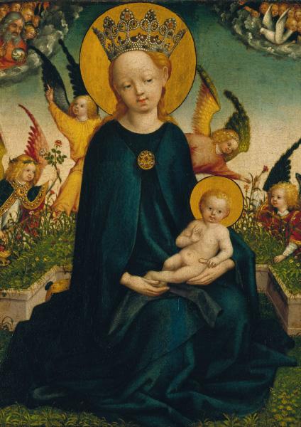 Klappkarte - Maria mit dem Jesuskind vor der Rasenbank