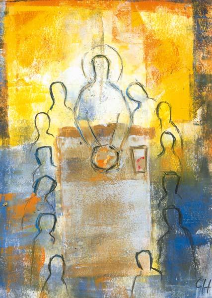 Kunstkarte - Mit Jesus versammelt