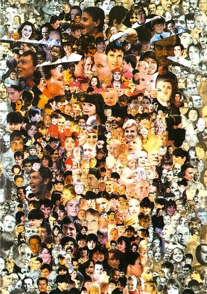 Klappkarte - Gesicht Christi- Gesichter der Menschen