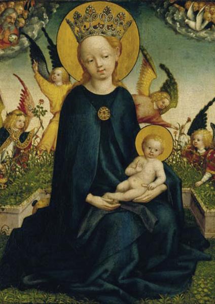 Kunstkarte - Maria mit dem Jesuskind vor der Rasenbank