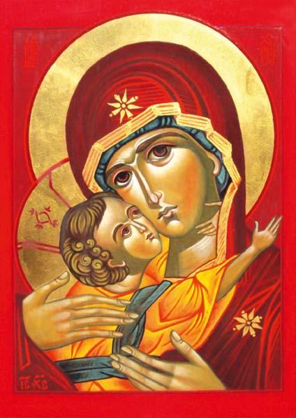 Klappkarte - Die zärtliche Mutter Gottes