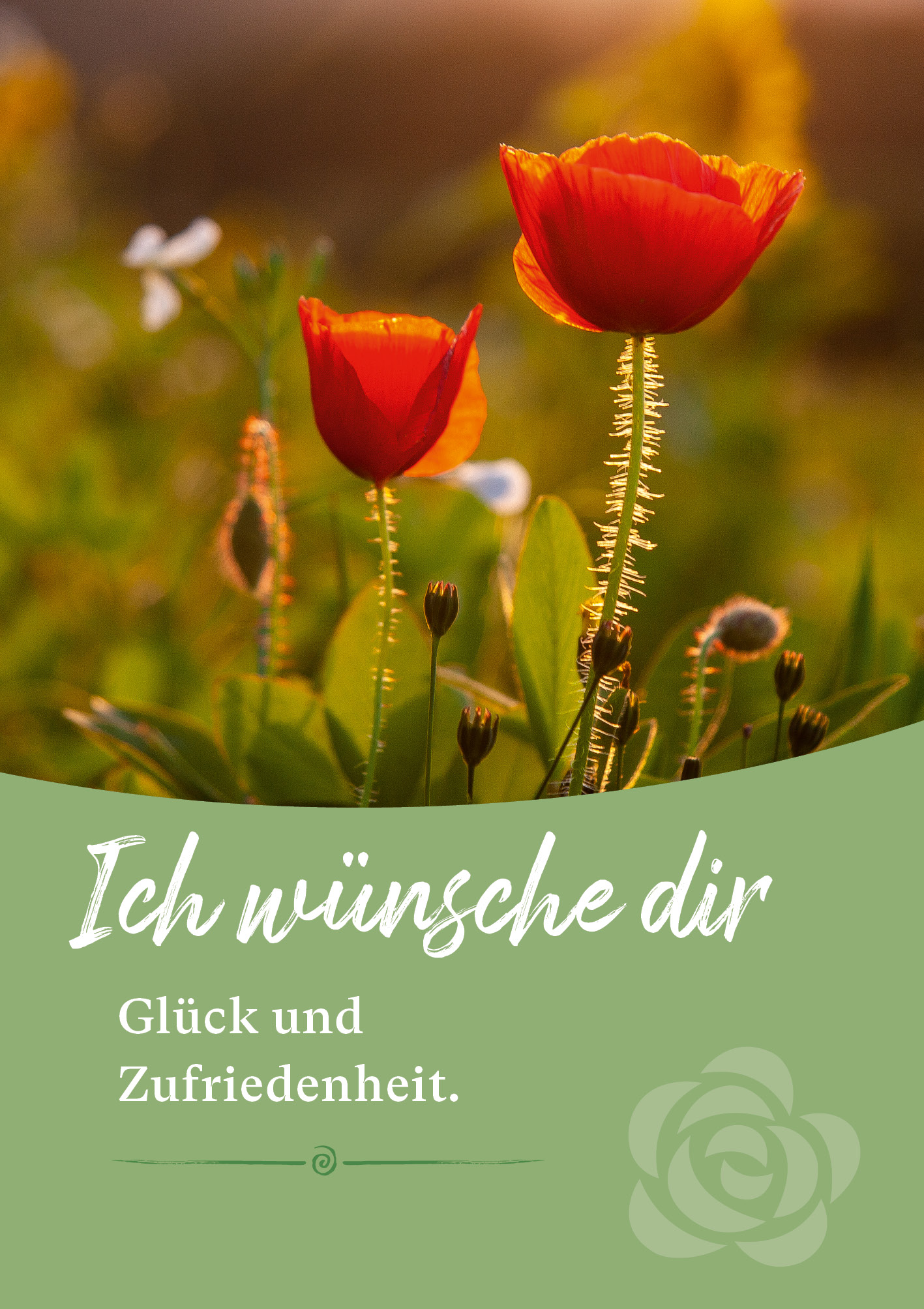 Kunst-Postkarte - Glück und Zufriedenheit