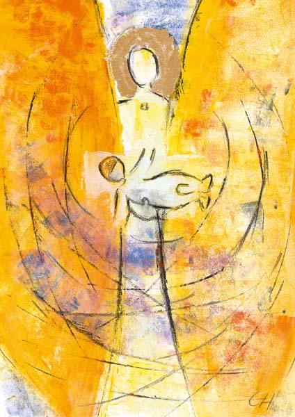 Klappkarte - Vom Engel getragen