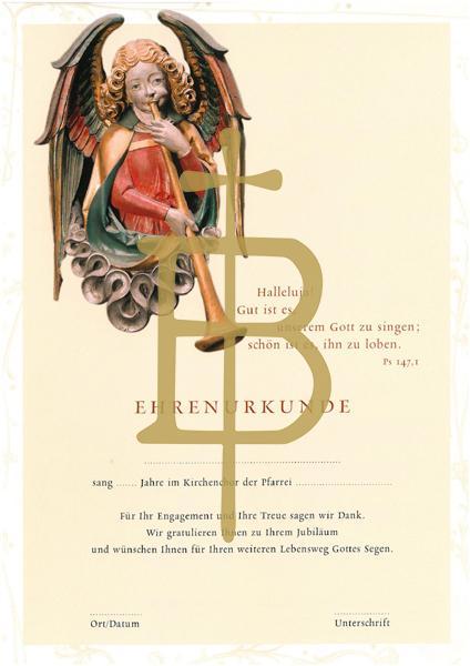 Ehrenurkunde für Mitgliedschaft im Kirchenchor