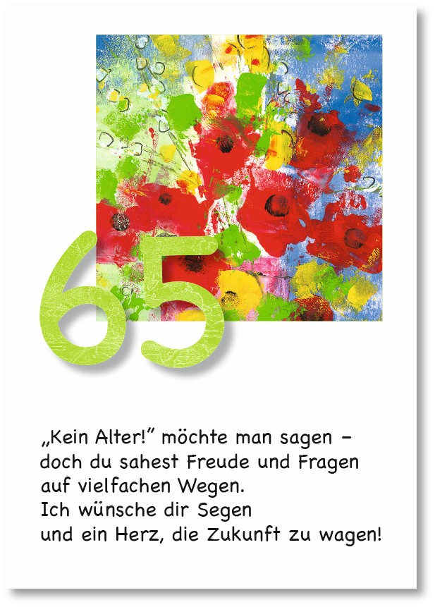 Klappkarte - Runder Geburtstag 65