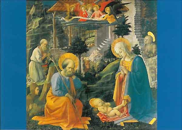 Kunst-Postkarte - Die Anbetung des Kindes mit dem hl. Joseph
