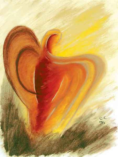 Kunst-Postkarte - Ein lichter Engel tut es kund