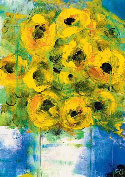Kunst-Postkarte - Sonnenblumen