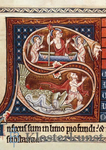 """Kunstkarte - Initiale """"S"""" mit Auferstehung Christi und Jona und der Wal"""