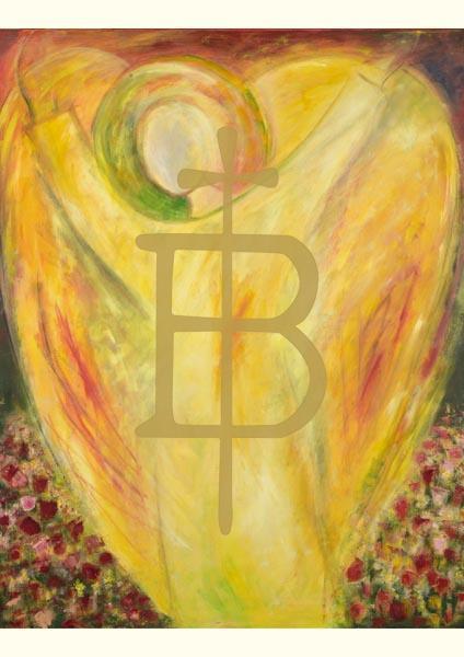 Klappkarte - Engel, der zum Blühen bringt