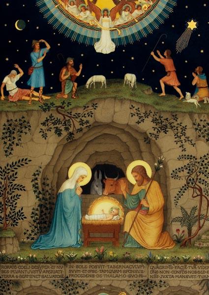 Klappkarte mit zweitem Motiv auf der Rückseite - Geburt Christi / Stammbaum Jesu
