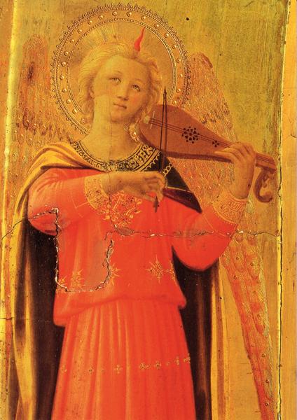 Kunst-Postkarte - Engel mit Birnengeige