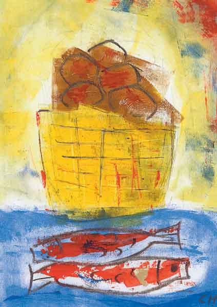 Kunst-Postkarte - Fünf Brote und zwei Fische