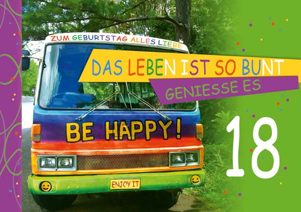Klappkarte - Runder Geburtstag 18 Jahre