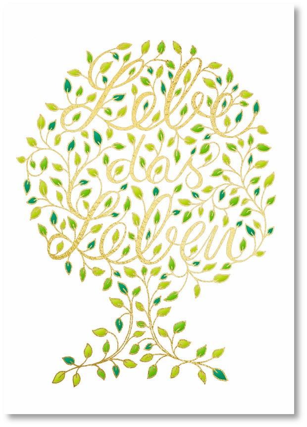 Premium-Klappkarte - Sanftes Grün für zarte Herzen