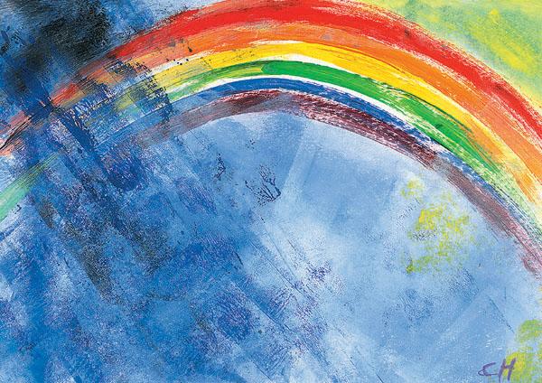 Klappkarte - Beschirmt unterm Regenbogen