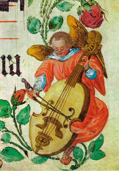 Kunst-Postkarte - Engel mit Bassgeige
