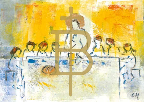 Klappkarte - Jesus gibt uns Brot