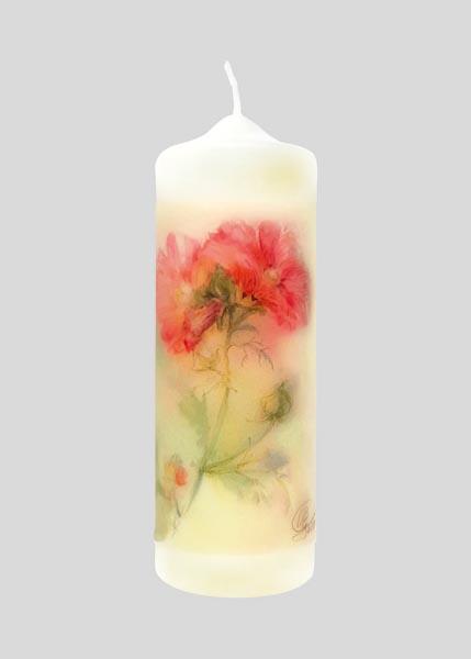 Kerze - Rosen-Malve