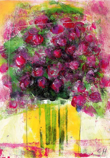 Kunst-Postkarte - Weinroter Blumengruß