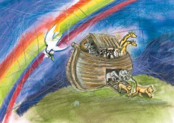 Klappkarte - Frieden bringt mir der Regenbogen