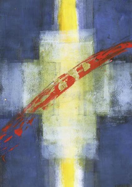 Kunstkarte - Kreuz und Lichtstreif