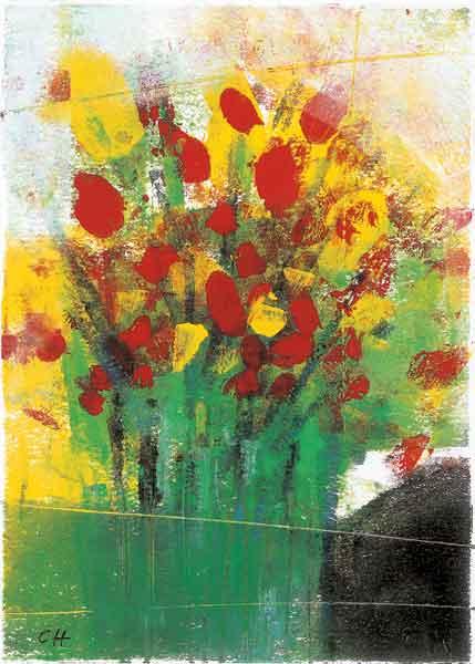 Klappkarte - Bunter Strauß in grüner Vase