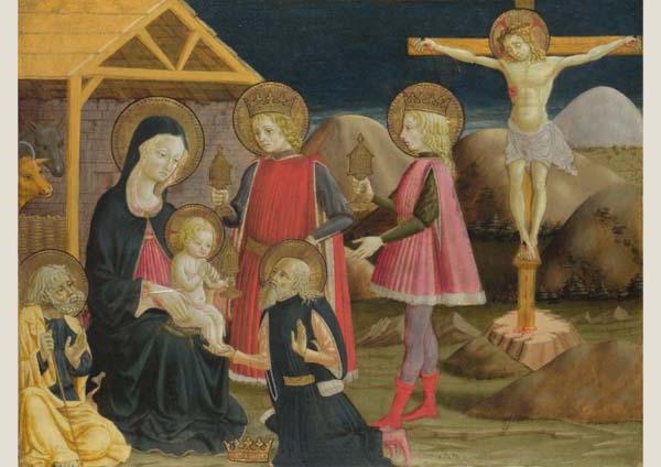 Klappkarte - Anbetung der Könige und Kreuzigung