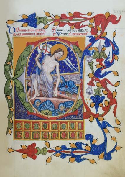 """Initiale """"E"""" mit der Auferstehung Christi"""