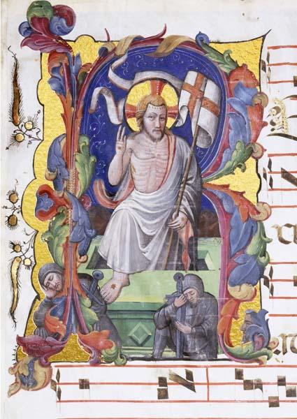 Initiale mit Auferstehung