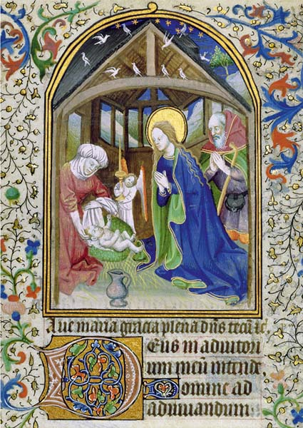 Premium-Klappkarte - Anbetung des neugeborenen Kindes durch Maria und Joseph