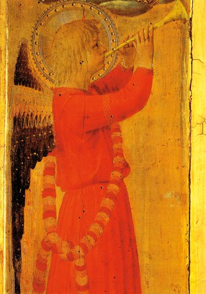 Kunstkarte - Engel mit Holztrompete