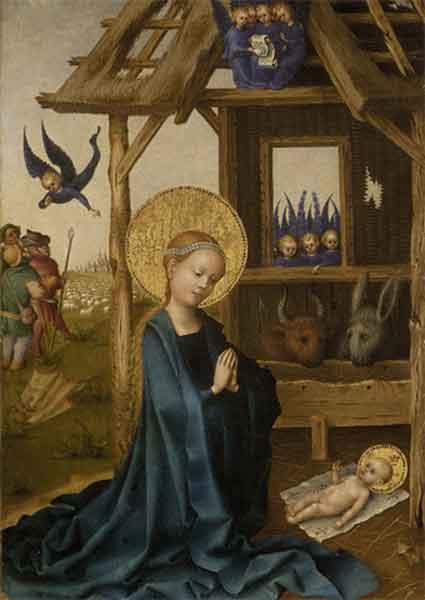 Kunstkarte - Anbetung des Kindes durch Maria