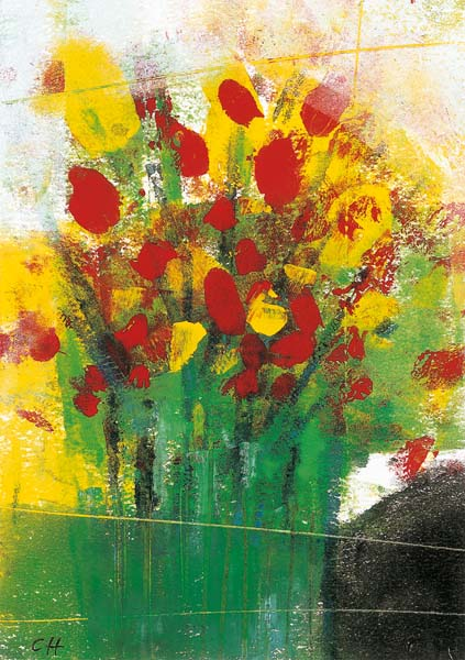 Kunst-Postkarte - Bunter Strauß in grüner Vase