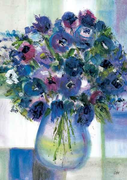 Kunst-Postkarte - Blauer Geburtstagsstrauß