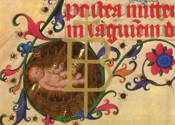Kunstkarte - Christkind im Weidenkorb