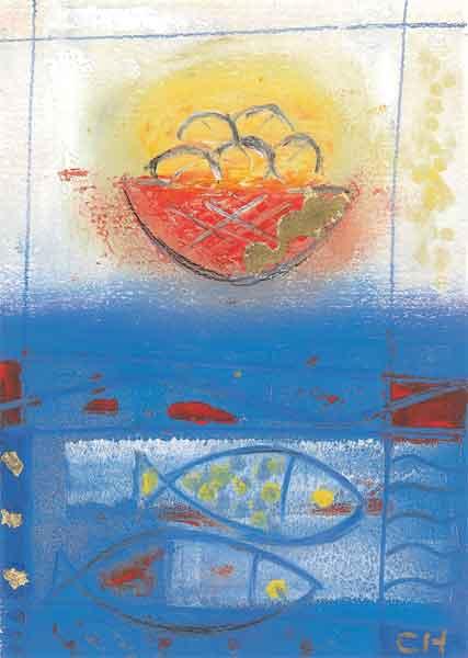 Kunst-Postkarte - Gaben zum Abendmahl