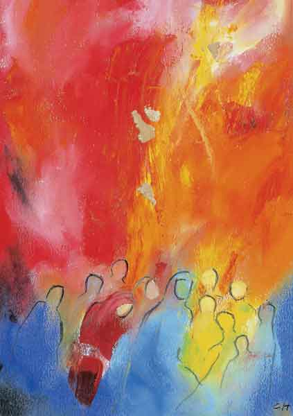 Kunst-Postkarte - Feuer des Geistes
