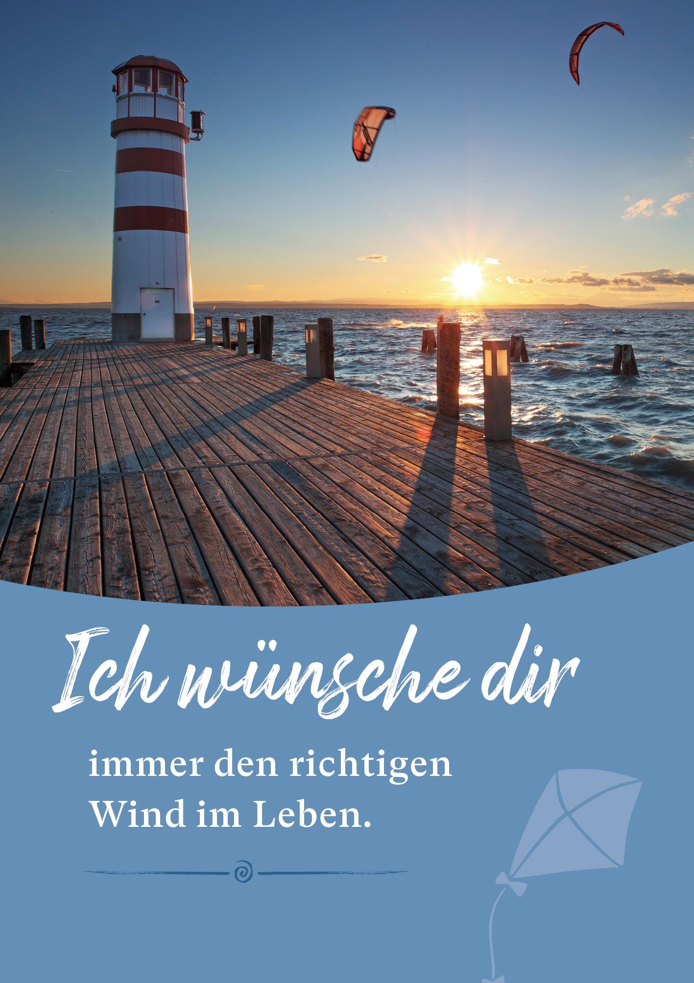 Kunst-Postkarte - Den richtigen Wind im Leben